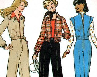 Simplicity 7097 Vintage 70s Sewing Pattern for Misses' Jacket or Vest and Wide-Leg Pants - Uncut - Size 12 - Bust 34