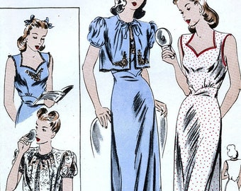 Vogue 9897 Vintage 40s Sewing Pattern for Misses  Nightgown and Bed Jacket  - Size Medium - Bust 32-34 13db23587