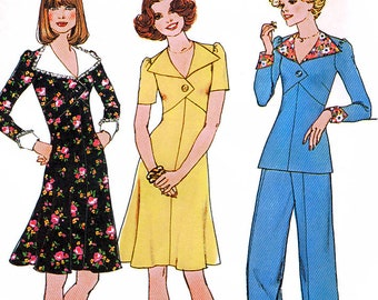 Simplicity 7134 Vintage 70s Sewing Pattern for Misses' Short Dress or Top and Wide-Leg Pants - Uncut - Size 8