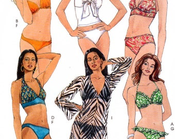 67625d819c McCall's M5400 Sewing Pattern for Misses' Two-Piece Bathing Suit and  Cover-Up - Uncut - Size 12, 14, 16, 18