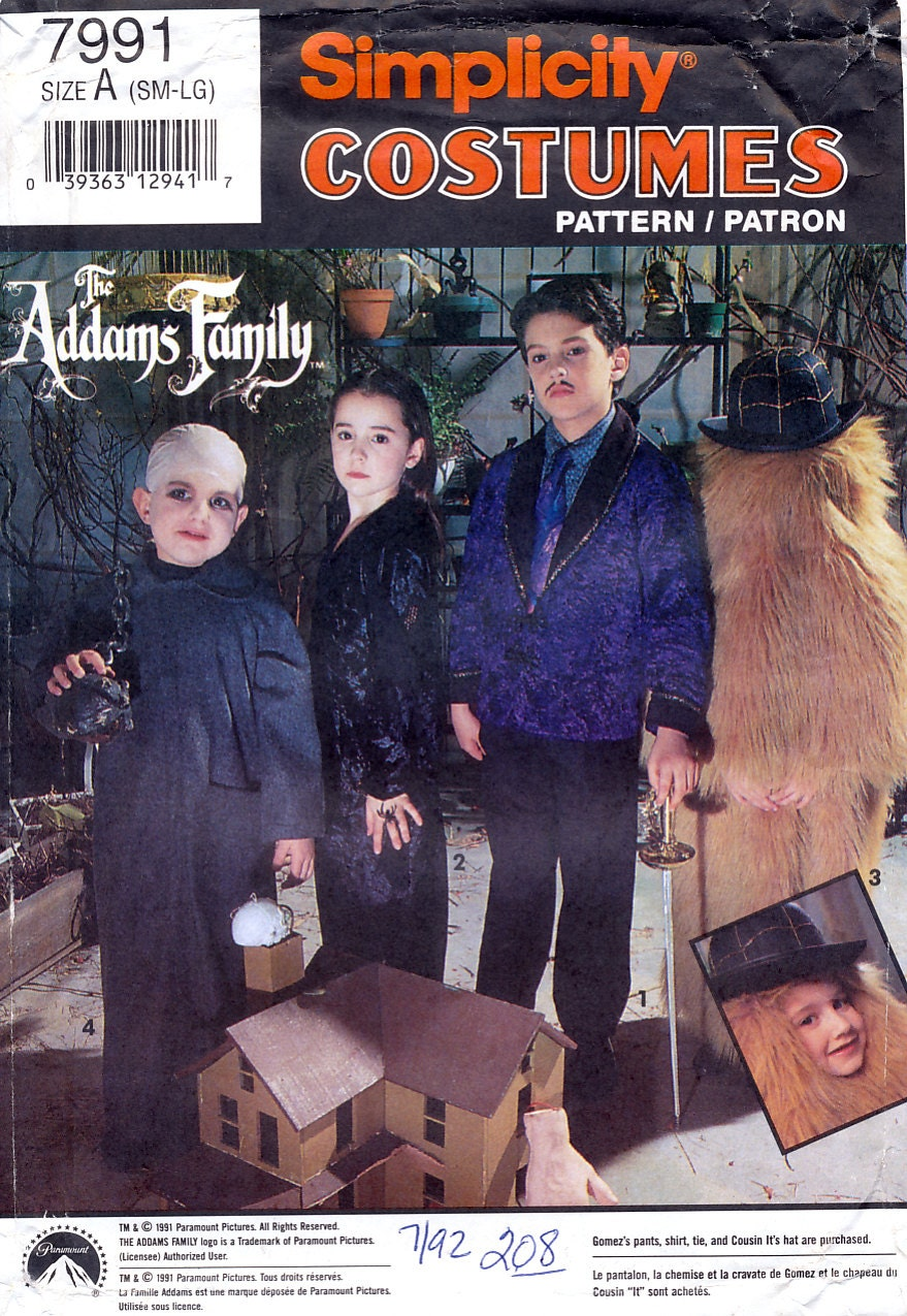 1990s children's The Addams Family costumes - Uncle Fester, Morticia, Gomez, and Cousin It