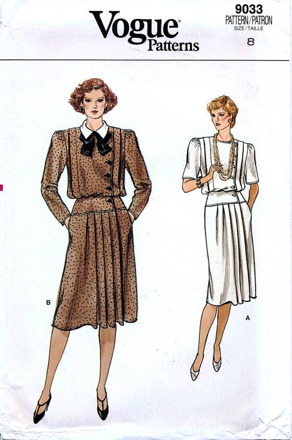 Vogue 9033 Vintage años 80 señoritas vestido patrón de costura | Etsy