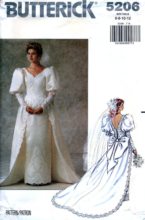 Butterick 5206 Sewing Pattern for Misses\' Bridal Gown with | Etsy
