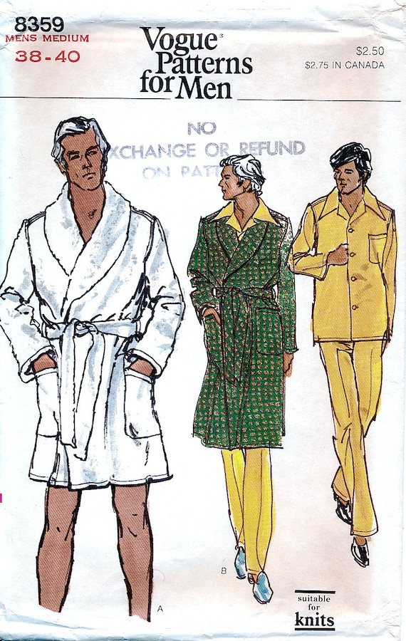 Vogue 8359 Vintage 70s Sewing Pattern for Mens\' Robe and | Etsy