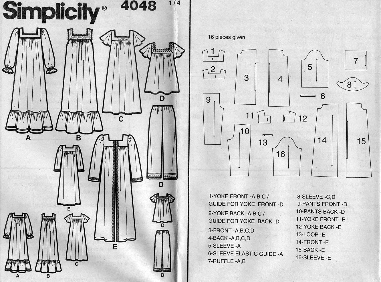 Simplicidad 4048 patrón de costura para camisón señoritas: de dos ...