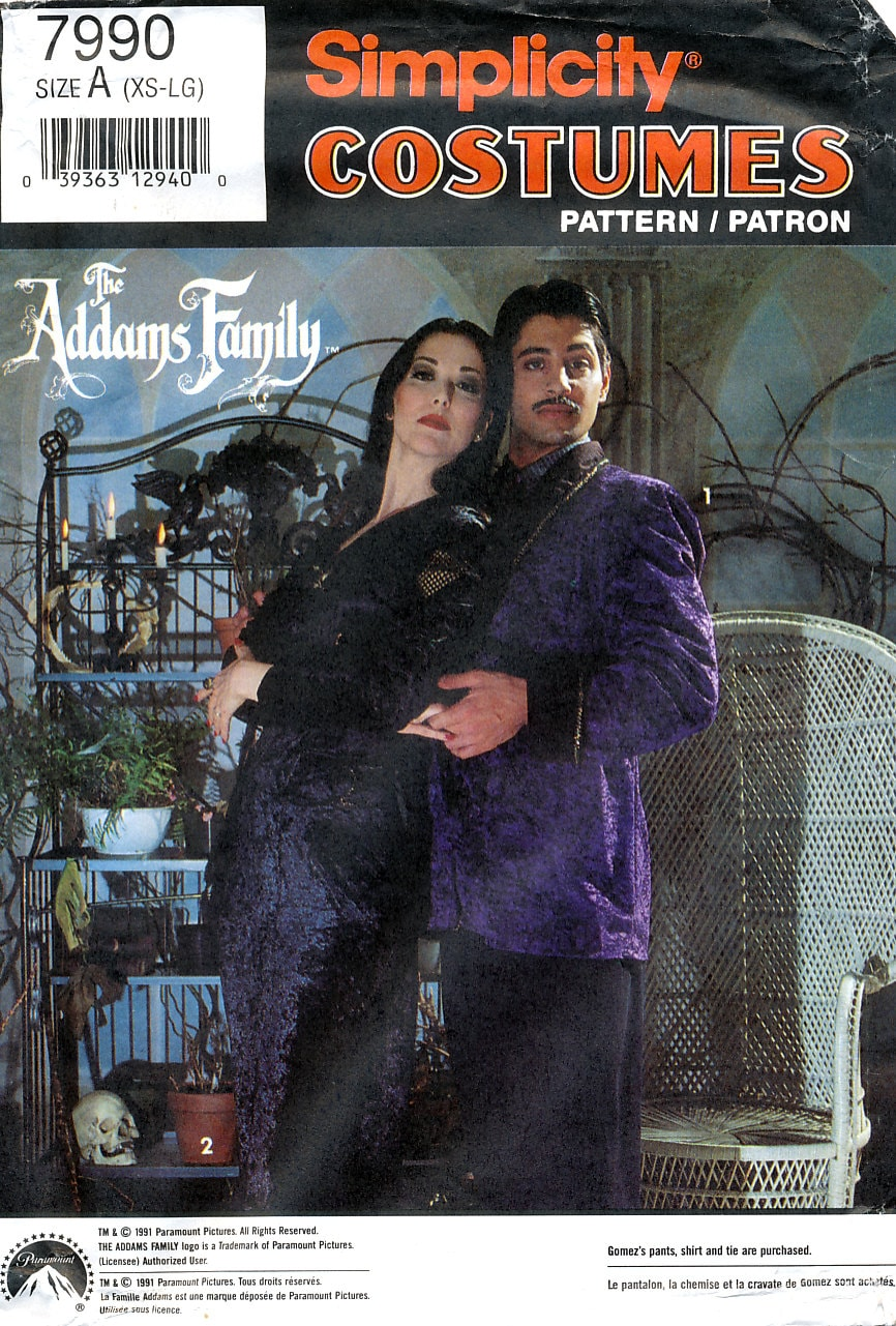 1990s adults' The Addams Family costumes - Morticia and Gomez couple costume