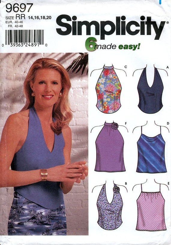 4acf69ce134 Simplicity 9697 Sewing Pattern for Misses  Summer Tops