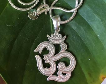 Sterling Silver Om Aum Ohm Necklace, Sterling Silver Om, Om Pendant, Zen, Yoga Jewellery