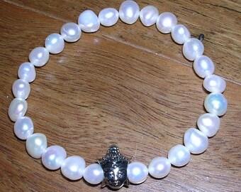 SALE Freshwater Pearl Buddha Bracelet