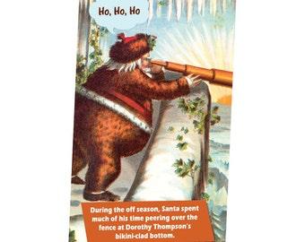 Ho Ho Ho Santa Peers Over The Fence Magnet