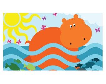 Happy Swimming Hippo Magnet