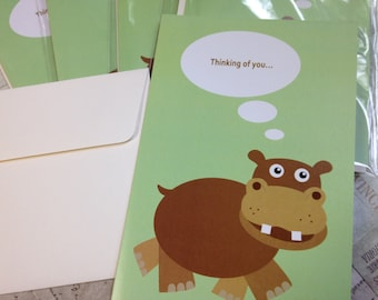Thinking of You Hippo Greeting Card