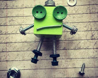 Green Mini MagBot Robot Magnet with Button Eyes