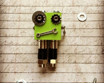 Green Mini MagBot Robot Magnet with Wrench Mouth and Hardware