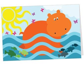 Happy Swimming Hippo Note Card
