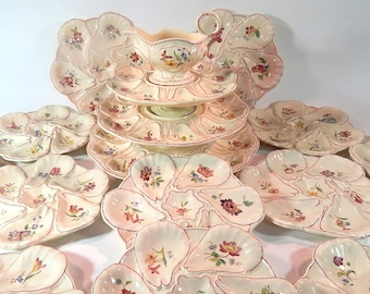 French Antique Majolica Oyster Service in Hand Painted  Barbotine Longchamp Rare Complete Service with 12 Plates