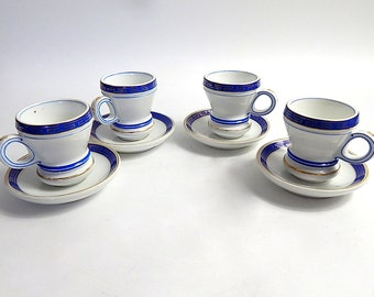 4 Antique French Bistro Cups  Authentic Heavy Porcelain Cups with Saucers Brulot