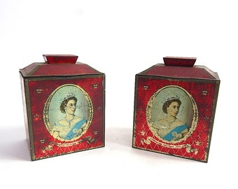 Pair of Vintage English Royal Commemorative Biscuit Tin Tea Caddy 1953 Coronation of Q. Elizabeth Perfect for Pair of Lamps