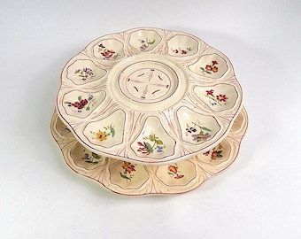 French Antique Majolica Oyster Service with 2 Tiers in Hand Painted  Barbotine Longchamp