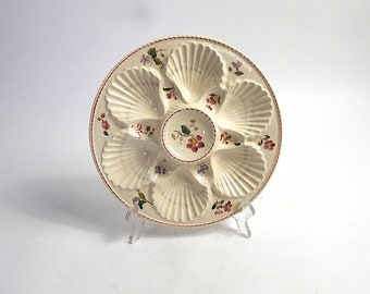French Vintage Oyster Plate in Majolica Longchamp Hand Painted