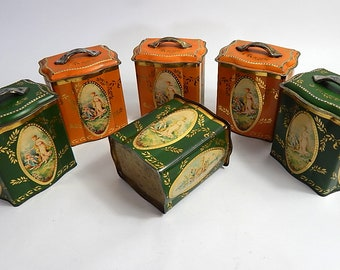 6 Vintage French Tins