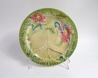 French Antique Asparagus Plate in Majolica by Sarregumines
