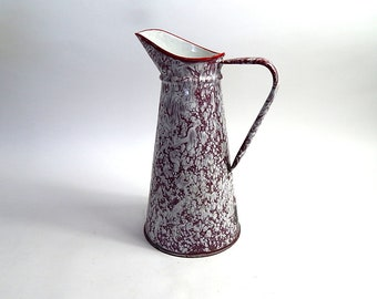 """French Vintage Enamelware Pitcher in """"Spatter"""" finish"""
