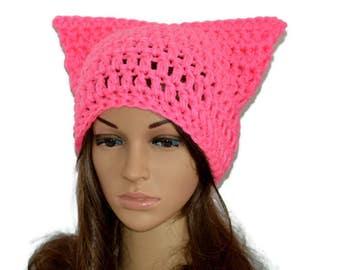 Cat ear beanie, Pussyhat,Pink cat hat,Womens cat hat,Pink cat beanie,Pink pussyhat,Cat lovers gift, Pink cat hat, SALE