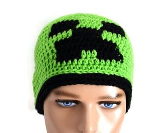 Minecraft Inspired Hat,Minecraft hat, Minecraft Creeper Hat, Creeper hat,Creeper crochet hat, Creeper Beanie ,Minecraft Creeper beanie
