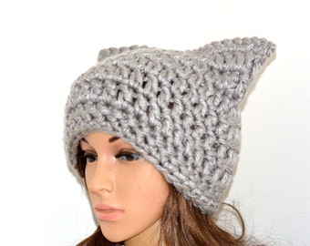Pussy hat ,Grey Pussy hat,Cat hat,hat,unisex cat hat, crochet beanie, pussyhat, cat hat ,pussyhat project - READY TO SHIP