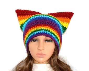 Rainbow Pussyhat,Cat Hat Beanie,Pussyhat, cat beanie,cat hat, cat beanie, pussyhat,unisex hat,Cat lovers gift ,Winter hat READY TO SHIP
