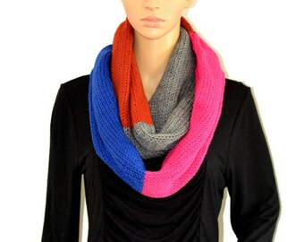 Chunky Scarf, Knit Scarf, Colorblock Scarf, Infinity Scarf, Womens Scarf, Fall Scarf, Winter Scarf, Knitted Circle Scarf, Mens scarf, Scarf