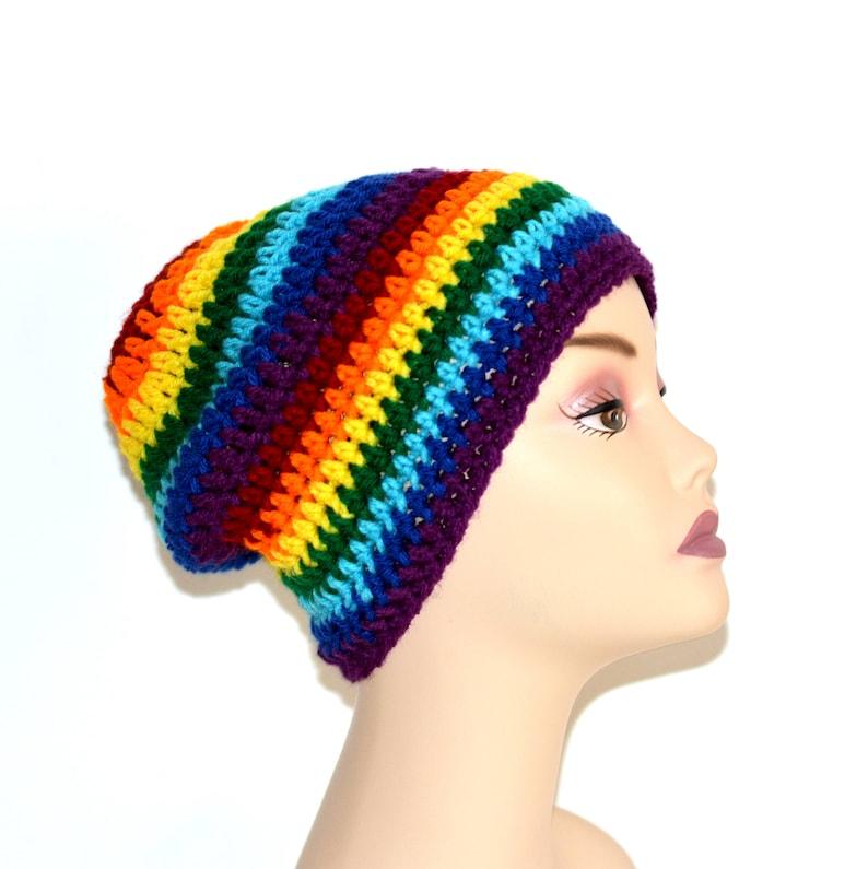 Rainbow Slouch Hat Neon Rainbow Hat Slouchy Beanie Baggy image 0