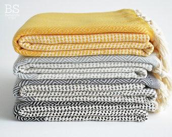 SALE | BathStyle / Thick / Gray Black Yellow / Turkish Towels, Peshtemal, Spa, Pool Towels, Beach Towel, Fouta Towel, Bridesmaid gift.