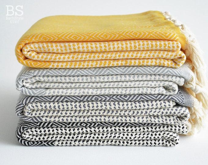 SALE   BathStyle / Thick / Gray Black Yellow / Turkish Towels, Peshtemal, Spa, Pool Towels, Beach Towel, Fouta Towel, Bridesmaid gift.