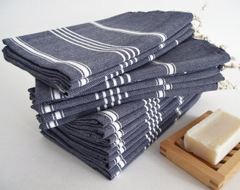 SALE 50 OFF/ Head and Hand Towel / Classic Style / Dark Navy Blue - White striped