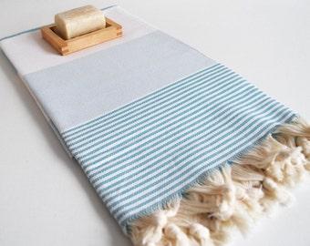 SALE 50 OFF/ Turkish Beach Bath Towel Peshtemal / Marine Style / Blue Striped / Bath, Beach, Spa, Swim, Pool Towels