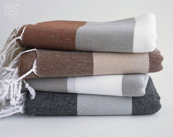 NEW / SALE 50 OFF/ BathStyle / Turkish Beach Bath Towel / Classic Peshtemal / Brown-Gray-Black-White