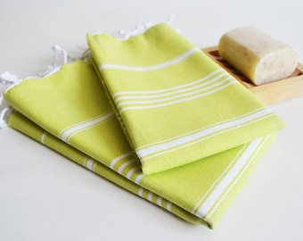SALE 50 OFF/ SET 2 Towels /Head and Hand Towel / Classic Style / Green - White stripe