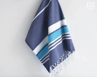 NEW / SALE 50 OFF/ Turkish Beach Bath Towel / Classic Peshtemal / Navy - Blue / Wedding Gift, Spa, Swim, Pool Towels and Pareo