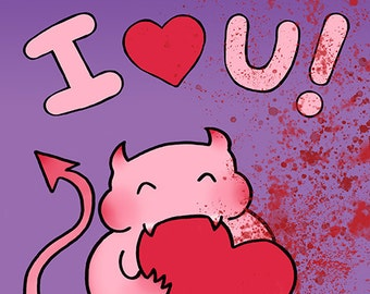 Demon Valentine, Weird Valentines Day Card, Creepy Cute, Horror Valentine, Bloody Heart, Monster, I Love You Card