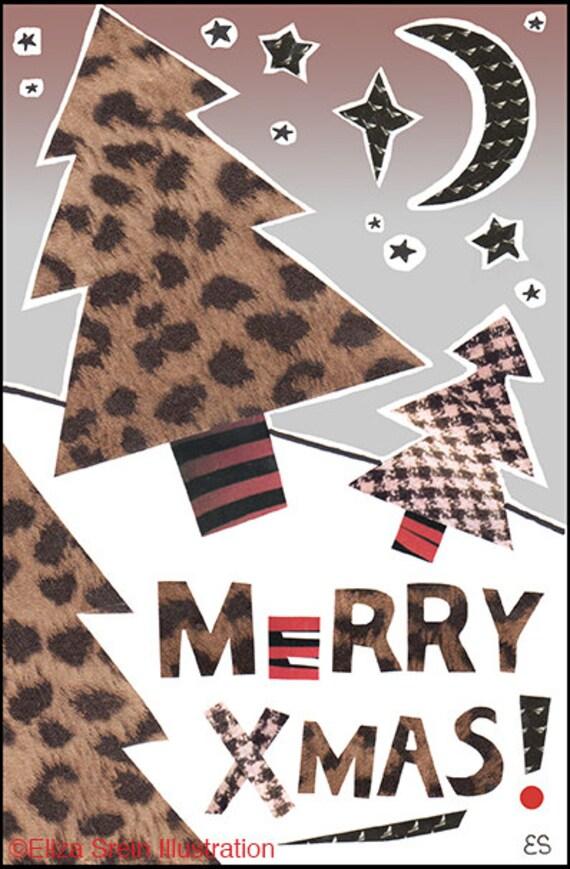 Leopard Print Christmas Card Cheetah Print Merry Xmas Card   Etsy