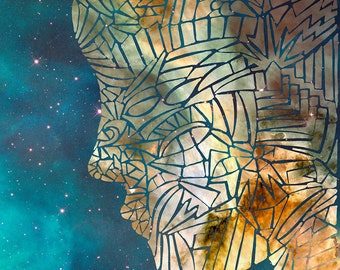 Fragmented Head, Outer Space Digital Collage Art Print, Galaxy, Carina Nebula Illustration, Profile, Psychedelic Art, Psychedelia, Abstract