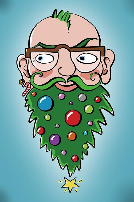 Carte De Noel Droles.Carte De Noël Drôles Hipster Avec Arbre De Noël Barbe 5 X
