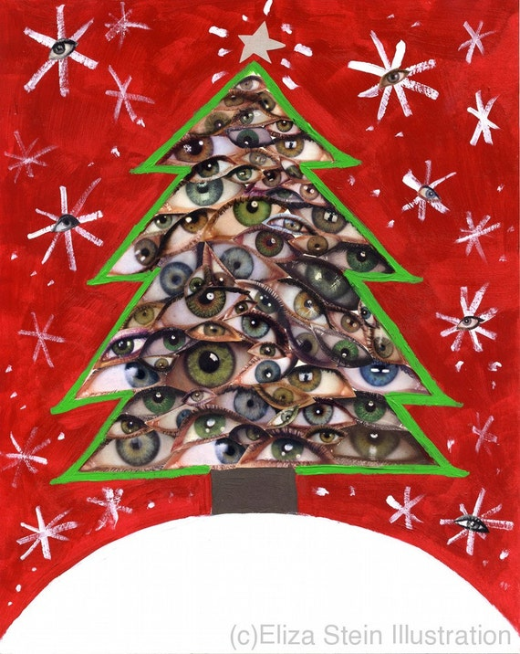 Christmas tree collage card 5x7 blank xmas greeting card etsy image 0 m4hsunfo