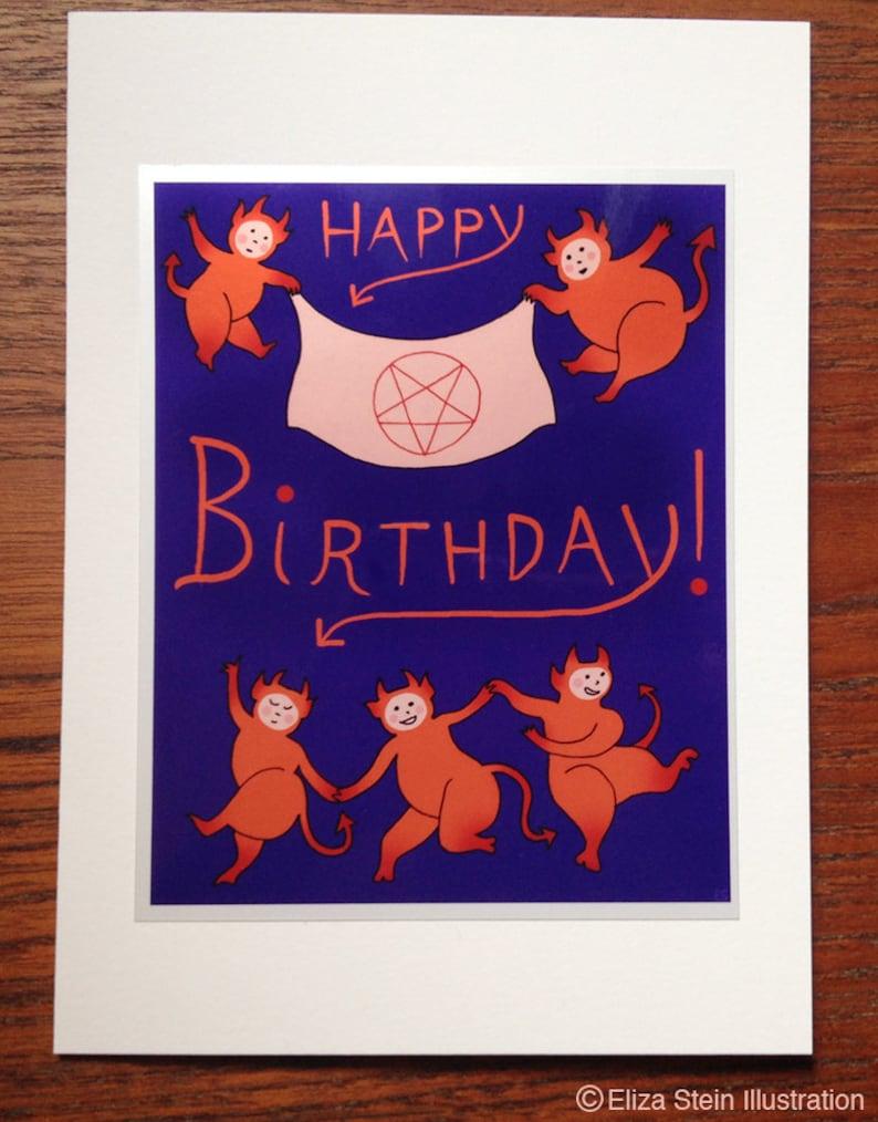 Demonic Happy Birthday Card Satanic Greeting Card Dancing image 0