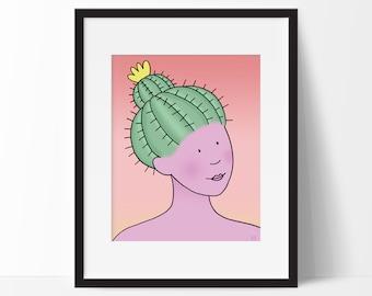 Barrel Cactus Woman Art Print, for Girls Room, Nursery, Desert Illustration