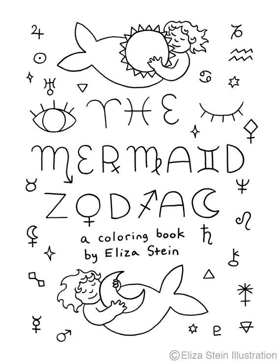 Printable Mermaid Zodiac Coloring Book Astrology Zodiac Etsy