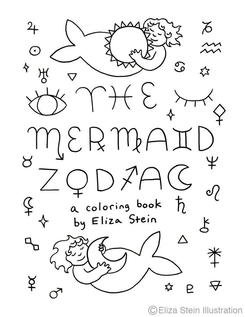 Printable Mermaid Zodiac Coloring Book Astrology Zodiac image 0