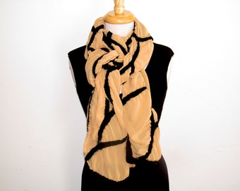 Wide nuno felt scarf: black abstract line design on gold polyester chiffon